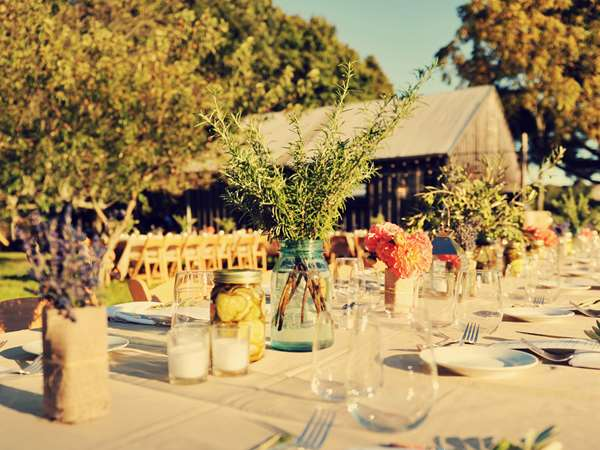 sunny outdoor tablescape for a catered event